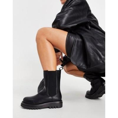 トリュフコレクション レディース ブーツ・レインブーツ シューズ Truffle Collection mid height chunky chelsea boots in black