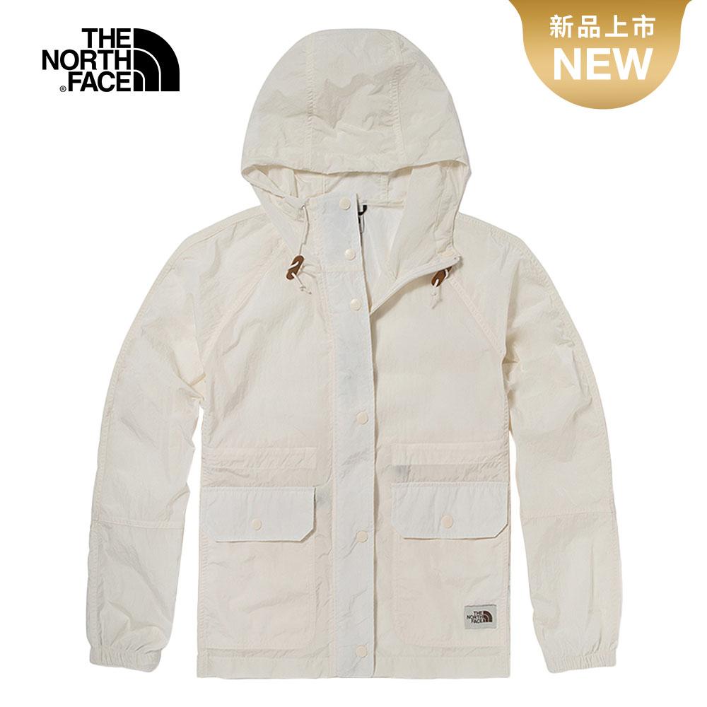 The North Face北面女款白色防風防潑水收腰設計連帽外套 5AY9N3N