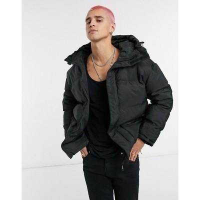 シックスジュン メンズ ジャケット・ブルゾン アウター Sixth June oversized puffer jacket with pocket detail in black