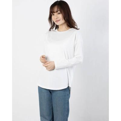コムサイズム COMME CA ISM スリット ロングTシャツ (ホワイト)