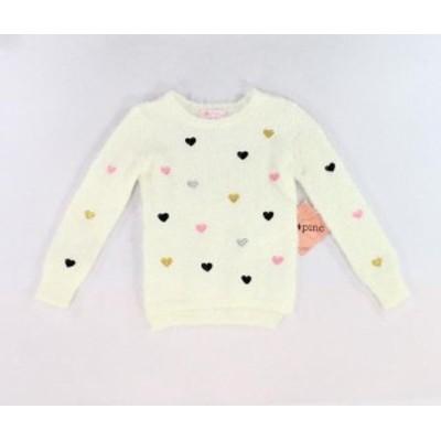 ファッション トップス I Love Pinc NEW White Baby Girls Size 4T Embroidered Heart Sweater