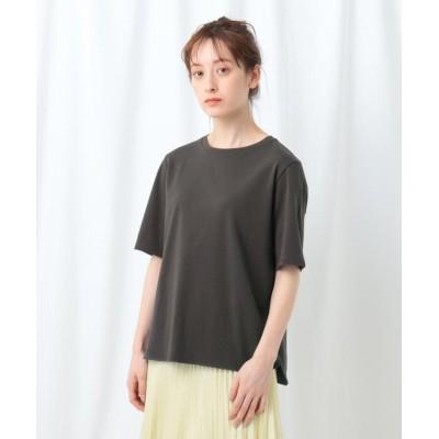 【インディヴィ】 「S」コンパクトピマ ラウンドヘムTシャツ レディース チャコール グレー 05(XXS) INDIVI