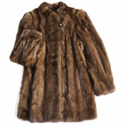 毛並み極美品▼MINK ミンク 本毛皮コート ブラウン 大きめサイズ13~15号 毛質艶やか・柔らか◎