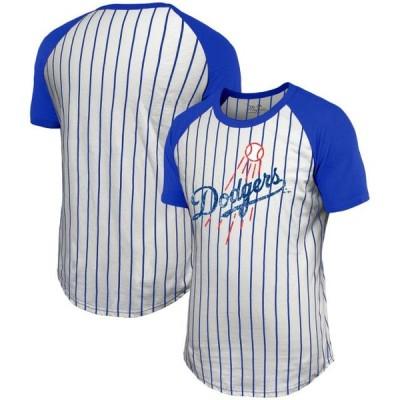 ユニセックス スポーツリーグ メジャーリーグ Los Angeles Dodgers Majestic Threads Pinstripe Raglan T-Shirt - White/Royal Tシャツ
