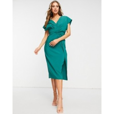 エイソス レディース ワンピース トップス ASOS DESIGN twist and drape front midi pencil dress in forest green Forest green
