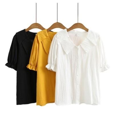 半袖シャツ ブラウス Tシャツ 上着 夏トップス レディース 前開き 大きいサイズ XL~4XL通気性よい 森ガール風 かわいいデザイン 全店2点送料無料