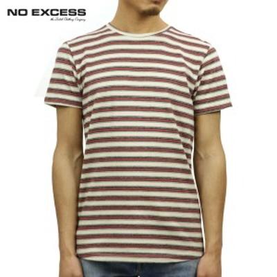 ノーエクセス Tシャツ 正規販売店 NO EXCESS 半袖Tシャツ クルーネック  YARN DYED STRIPE TEE 350356 187