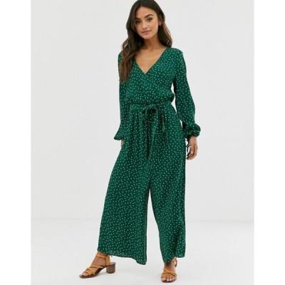 エイソス レディース ワンピース トップス ASOS DESIGN wrap front jumpsuit in green polka dot