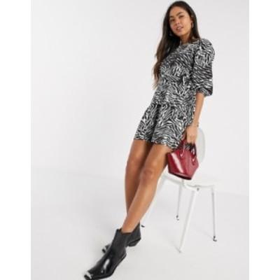 リバーアイランド レディース ワンピース トップス River Island zebra print belted mini dress in black Black print