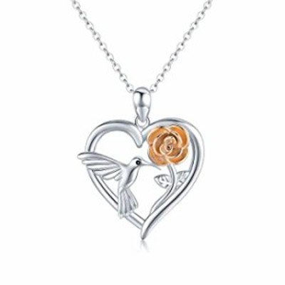 Hummingbird Necklace 925 Sterling Silver Hummingbird Jewelry Heart Pendant with Rose Hummingbirds Gifts for Women Girls