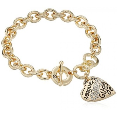 """ゲス ブレスレット レディース用 GUESS """"Basic"""" Gold Graffiti Logo Heart Toggle Charm Bracelet"""