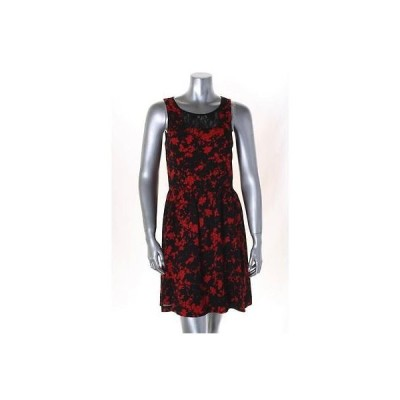 ケンジー ドレス ワンピース フォーマル Kensie レッド ブラック ノースリーブ クルーネック フローラル ドレス サイズ M MSRP 89LAFO