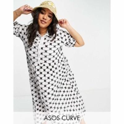 エイソス ASOS Curve レディース ワンピース Aライン ワンピース・ドレス Curve Broderie Midi Tiered Shirt Dress In Mono Contrast