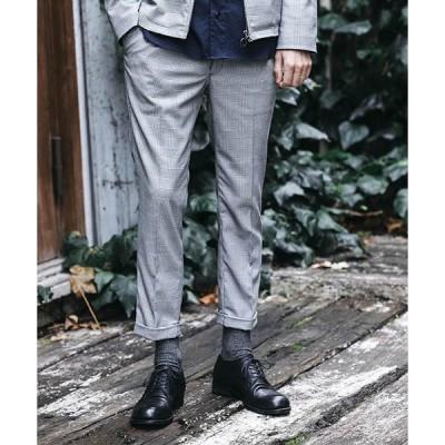 【MROLIVE(ミスターオリーブ)】TRADITIONAL GLENCHECK STRETCH  -ONE PLEATS STA-PREST TAPERED PANTS パンツ(M-19104)