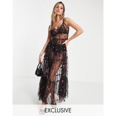 レース アンド ビーズ レディース ワンピース トップス Lace & Beads exclusive sheer tulle overlay dress in metallic heart print