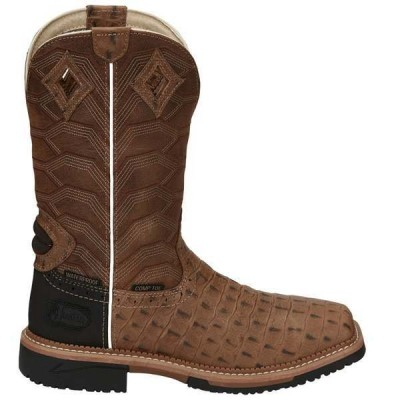 ジャスティン メンズ ブーツ・レインブーツ シューズ Derrickman 12 inch Waterproof Croc Print Compostie Toe Work Boots