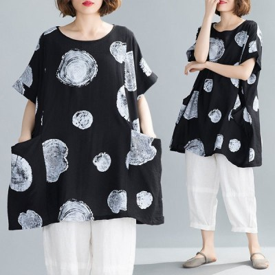 「大きいサイズ」夏  新作  おしゃれ  水玉柄  カジュアル  半袖ゆったり大きいサイズ  着やせ*  チュニック  黒