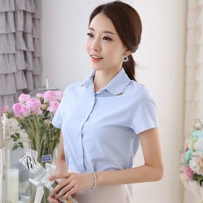 NEW レディース シャツ ワイシャツ ブラウス 半袖  無地 白シャツ OL 通勤 フォーマル 女子 トップス