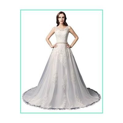 Sarahbridal Womens A-Line Wedding Dresses Lace Tulle Pearls Bride Gowns White US4並行輸入品