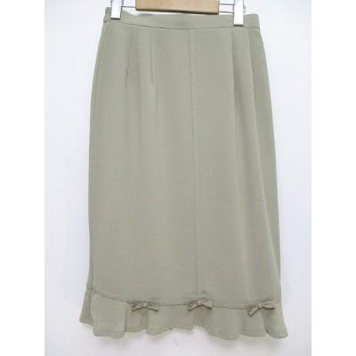 【中古】プレスト Presto ひざ丈 スカート リボン 11 緑 グリーン 無地 日本製 レディース 【ベクトル 古着】