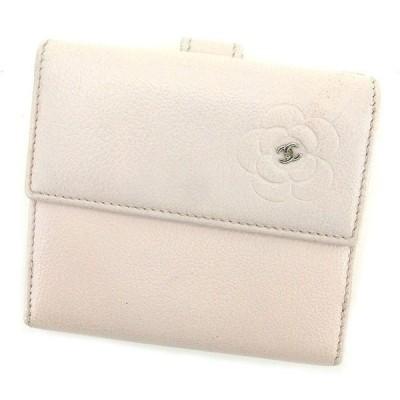 シャネル Chanel 財布 Wホック財布 カメリア ピンク レディース 中古
