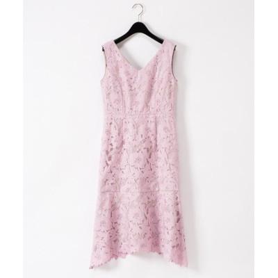 (GRACE CONTINENTAL/グレースコンチネンタル)刺繍セミロングドレス/レディース ピンク