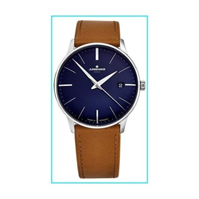 Junghans Men's 'MeisterMega' Quartz Watch - Blue Dial with Silver Luminous Hands - Sapphire Crystal and Brown Leather Strap German Watch for