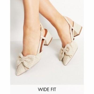 エイソス ASOS DESIGN レディース ヒール シューズ・靴 Wide Fit Spring bow mid heeled shoes in natural