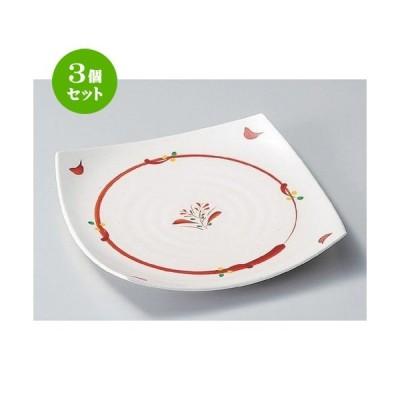 3個セット ☆ 組皿 ☆赤絵丸紋7寸皿 [ 19 x 19 x 4cm 420g ] 【 料亭 旅館 和食器 飲食店 業務用 】