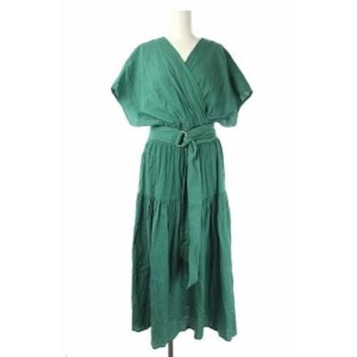 【中古】セルフォード 20SS カシュクールワンピース ロング ベルト付き コットン フレンチスリーブ ONE 緑