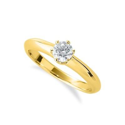 指輪 18金 イエローゴールド 天然石 一粒リング 主石の直径約4.4mm ソリティア 六本爪留め K18YG 18k 貴金属 ジュエリー レディース メンズ