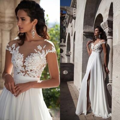 ウェディングドレス 結婚式 二次会 ホワイト 花嫁 ウェディング 白ドレス ロングドレス 披露宴 aライン トレーン 安い 花嫁 挙式 シースルーレース 結婚式