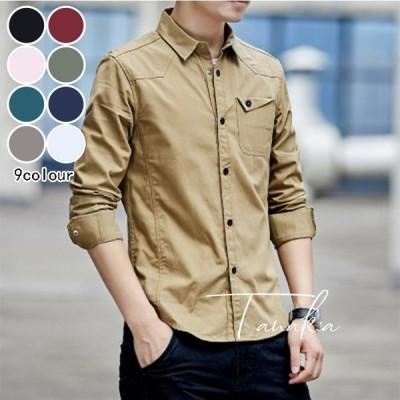 シャツ メンズ 長袖 シャツ ジャケット オックスフォード 細身 タイト シャツジャケット M L XL 2XL 3XL 4XL 春