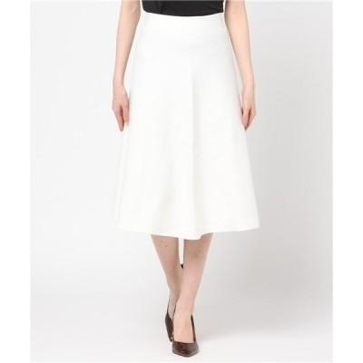 スカート 綿ストレッチミラノリブフレアスカート