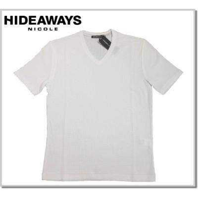 ハイダウエイ HIDEAWAYS ブロックリンクスVネックTシャツ 0165-9731-09(WHITE) 半袖T カットソー