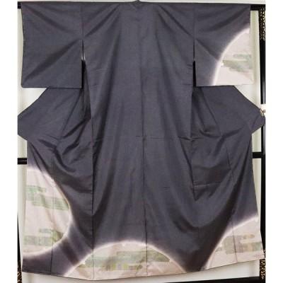 【送料無料】本場縞大島紬 訪問着 正絹 雪輪紋 ki25023 仕立て上がり お出かけはお着物で