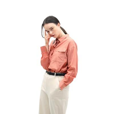 ◆キュプラ綿ブロードシャツ ピンク