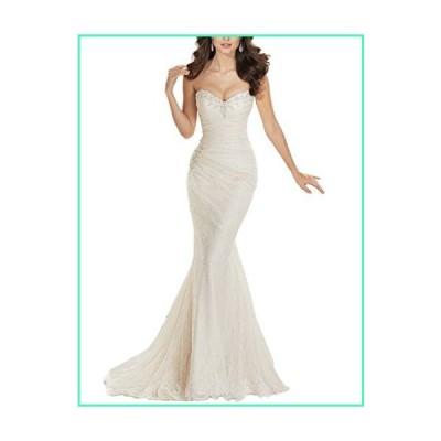 JYDress Women's Sweetheart Beaded Pleat Lace Wedding Dress Mermaid Bridal Gown Ivory並行輸入品
