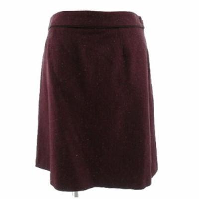【中古】クミキョク 組曲 KUMIKYOKU スカート ひざ丈 シルク混 総柄 ツイード エンジ系 パープル ミックス糸 1 レディース