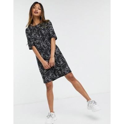 アーバン スレッド  レディース ワンピース トップス Urban Threads oversized eye print t-shirt dress in black Black