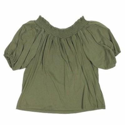 【中古】ショコラフィネローブ chocol raffine robe カットソー オフショル 5分袖 F カーキー ▽8 レディース
