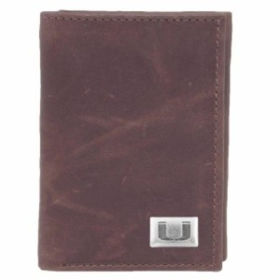 Eagles Wings イーグルス ウイングズ スポーツ用品  Miami Hurricanes Leather Tri-Fold with Concho Wallet