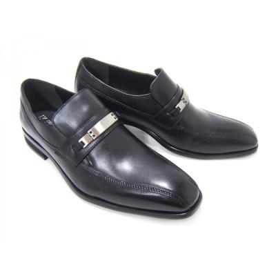 HIROKO KOSHINO/ヒロコ コシノ ビジネス HK130紳士靴 ブラック スワールモカ ビット(金具)付き ロングノーズ3Eワイズ ビジネス 送料無料
