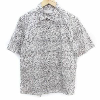 【中古】カルバンクライン CALVIN KLEIN シャツ カジュアル 半袖 総柄 L 白 黒 ホワイト ブラック /FF41 メンズ