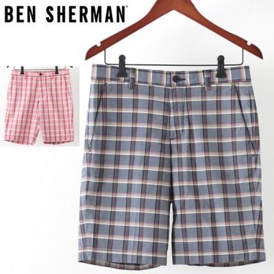 ベンシャーマン メンズ ハーフパンツ Ben Sherman 2色 クランベリー スタプレスネイビー テーラード ショーツ 短パン チェック