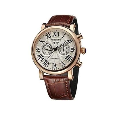 Forsining メンズ ラグジュアリー ブランド デイ カレンダー 自動 ステンレススチールケース レザーストラップ 腕時計