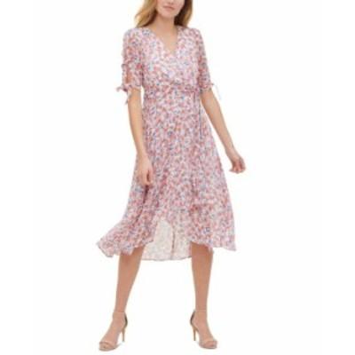 トミー ヒルフィガー レディース ワンピース トップス Floral-Print Wrap-Style Dress Ivory/grenadine