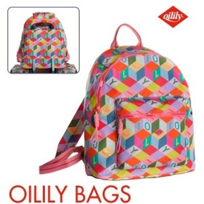 オイリリー 公式 レディース キッズ バックパック リュックサック マルチカラー 幾何学模様 キャリーオンバッグ