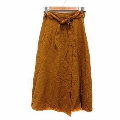 【中古】サロン SALON ラップスカート フレア ミモレ ロング M 茶 ブラウン /MN レディース