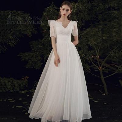 Vネック ウエディングドレス 床付きタイプ wedding dress ファスナータイプ オーダーメイド可能 前撮り 後撮り【XS〜XL】【wd482】